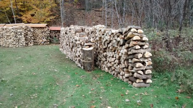 Sawn, split and stacked