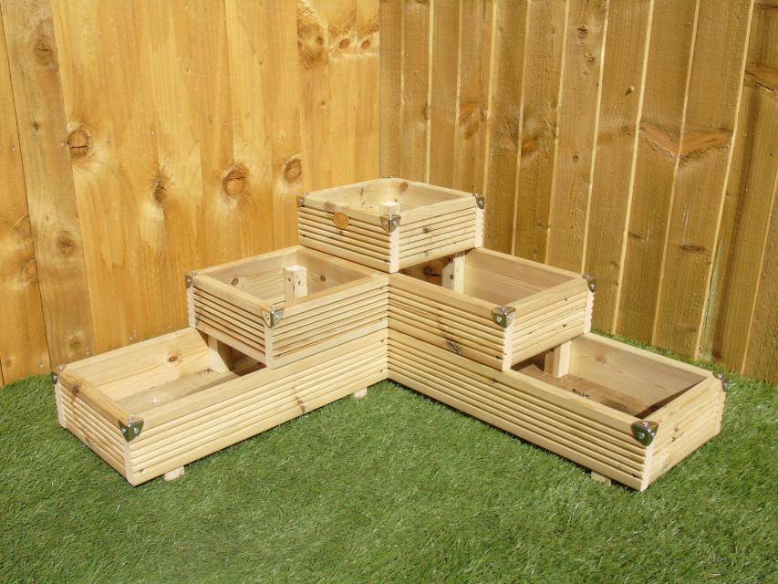 Extra Large Concrete Planters Large 3 Tiered Corner Garden Level Steps Wooden Decking