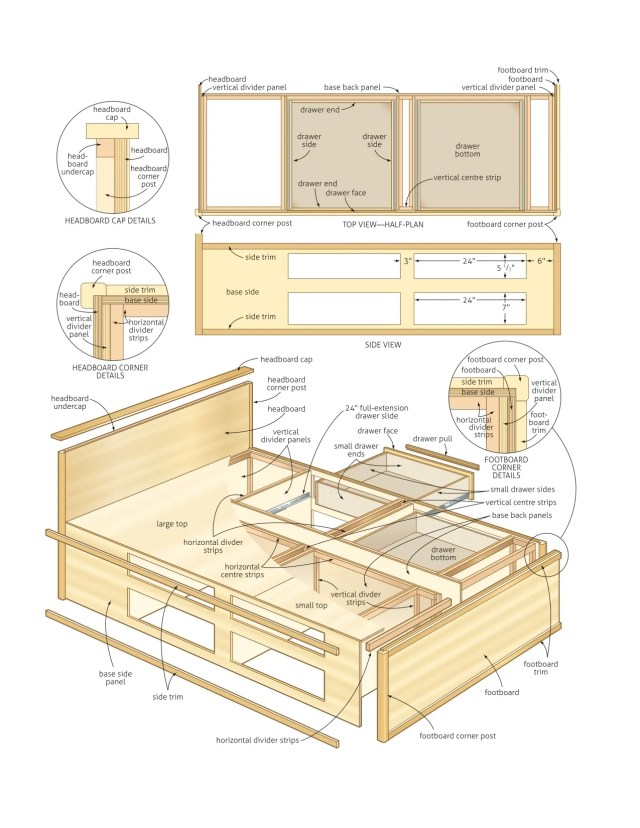 queen bed with storage woodworking plans