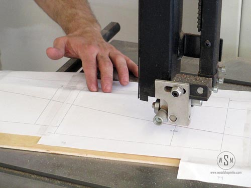 Using the bandsaw to cut out template