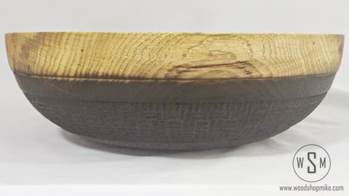 Hickory Bowl with Basket Weave Pyrography, Side