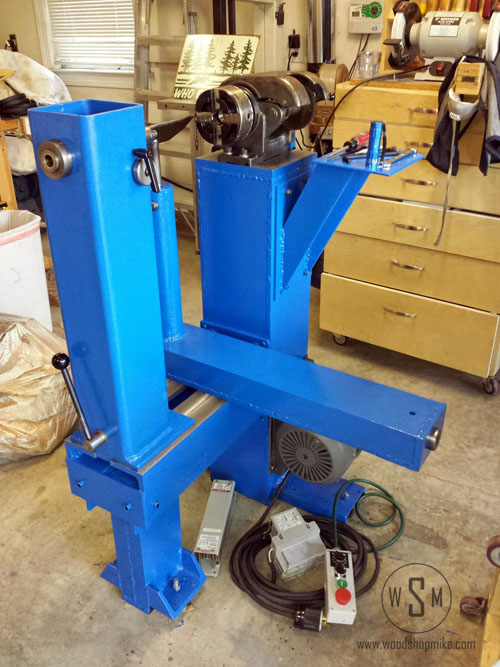 Ready for Countershaft, Big Blue Home Made Wood Lathe