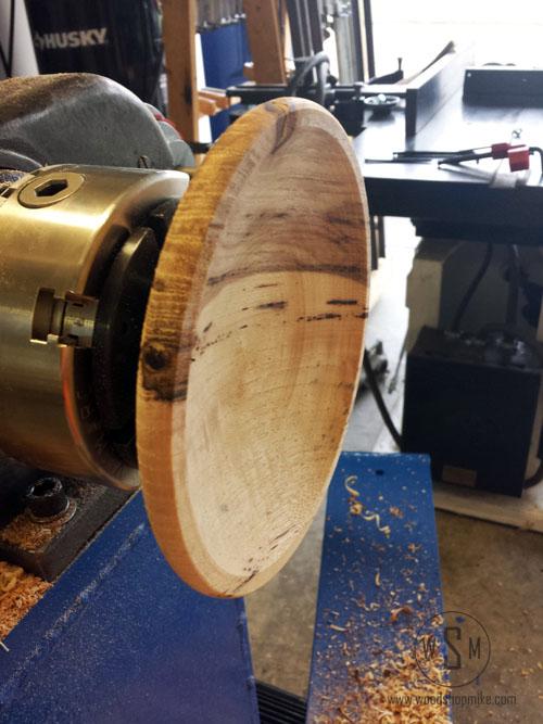 First Piece, Big Blue Home Made Wood Lathe