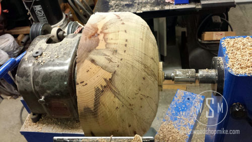 Big Hickory Bowl Rough Turning,Big Blue Home Made Wood Lathe