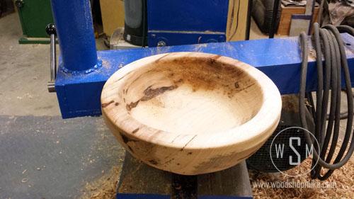Big Hickory Bowl Rough Turned, Big Blue Home Made Wood Lathe