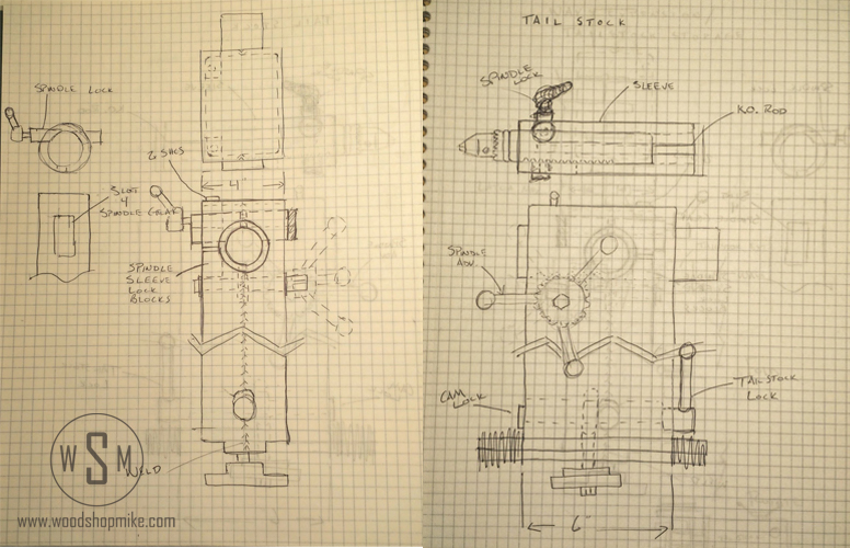 Tailstock Sketches, Big Blue-Home Made Wood Lathe