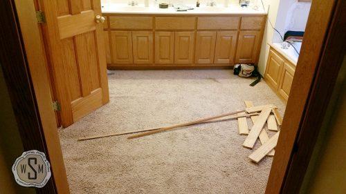 Base Boards Removed, Master Bath Remodel, Flooring