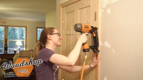 Wifey Installing Door 3-building upstairs stairwell