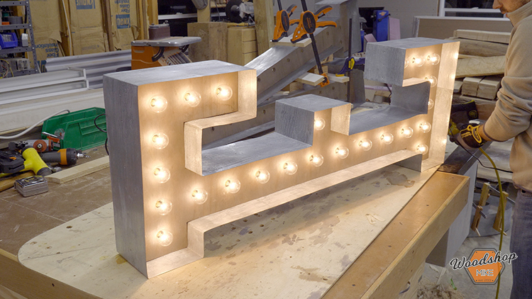 Testing String Lights - How to Make a DIY Vintage Marquee Sign