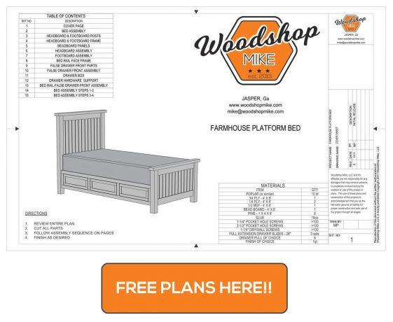 Free Plans DIY Farmhouse Platform Bed