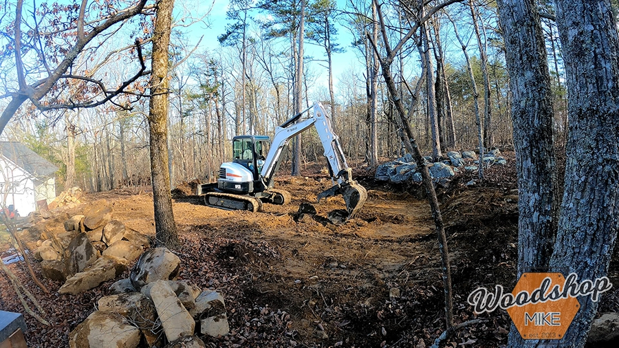 Excavating and grading outdoor oasis