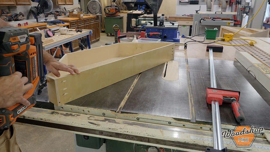 how to build a corner cabinet drawer box