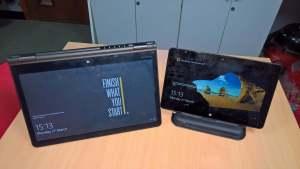 Dell Venue 11 (Docked) and Lenovo Yoga 14 (Tent Mode)