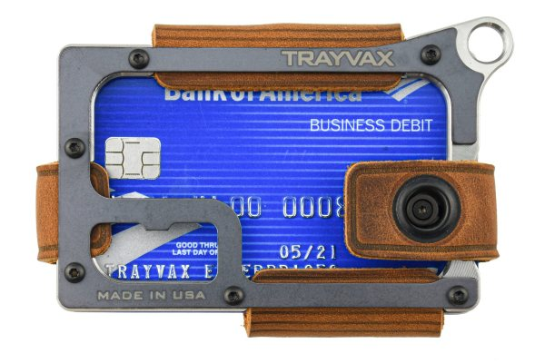 Trayvax Contour Minimalist EDC Wallet Raw and Tobacco Brown