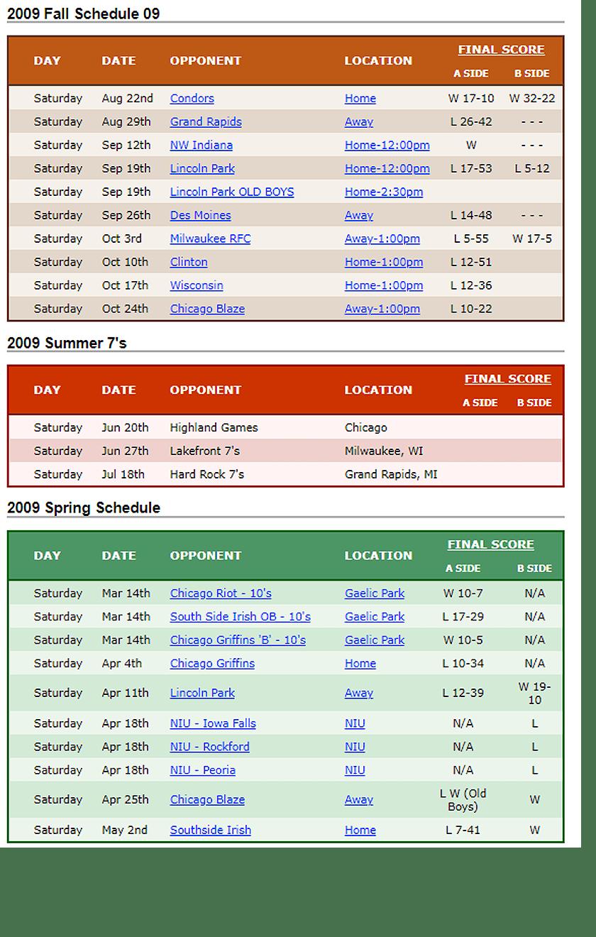 2009 Woodsmen Rugby Schedule