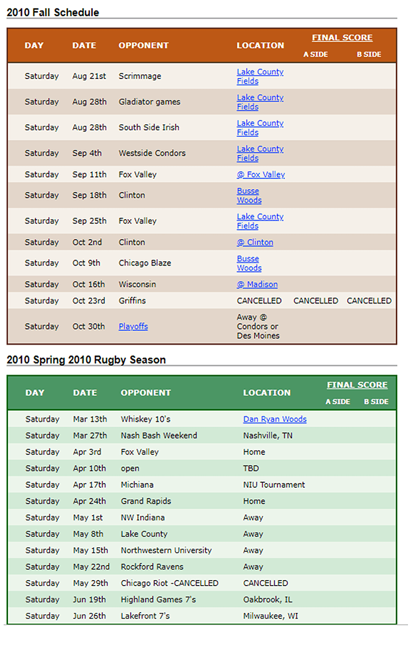 2010 Woodsmen Schedule