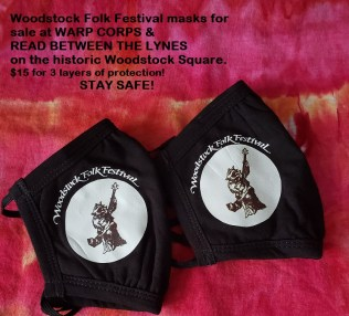 Woodstock Folk Festival Masks - Get yours through Read Between the Lynes or Warp Corps.