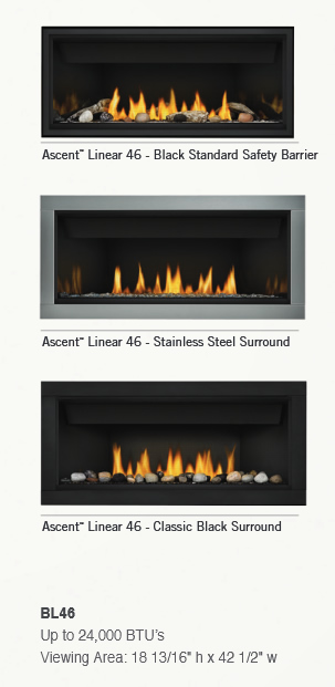 Napoleon Ascent Linear BL46 Direct Vent Gas Fireplace  BL46NTE1