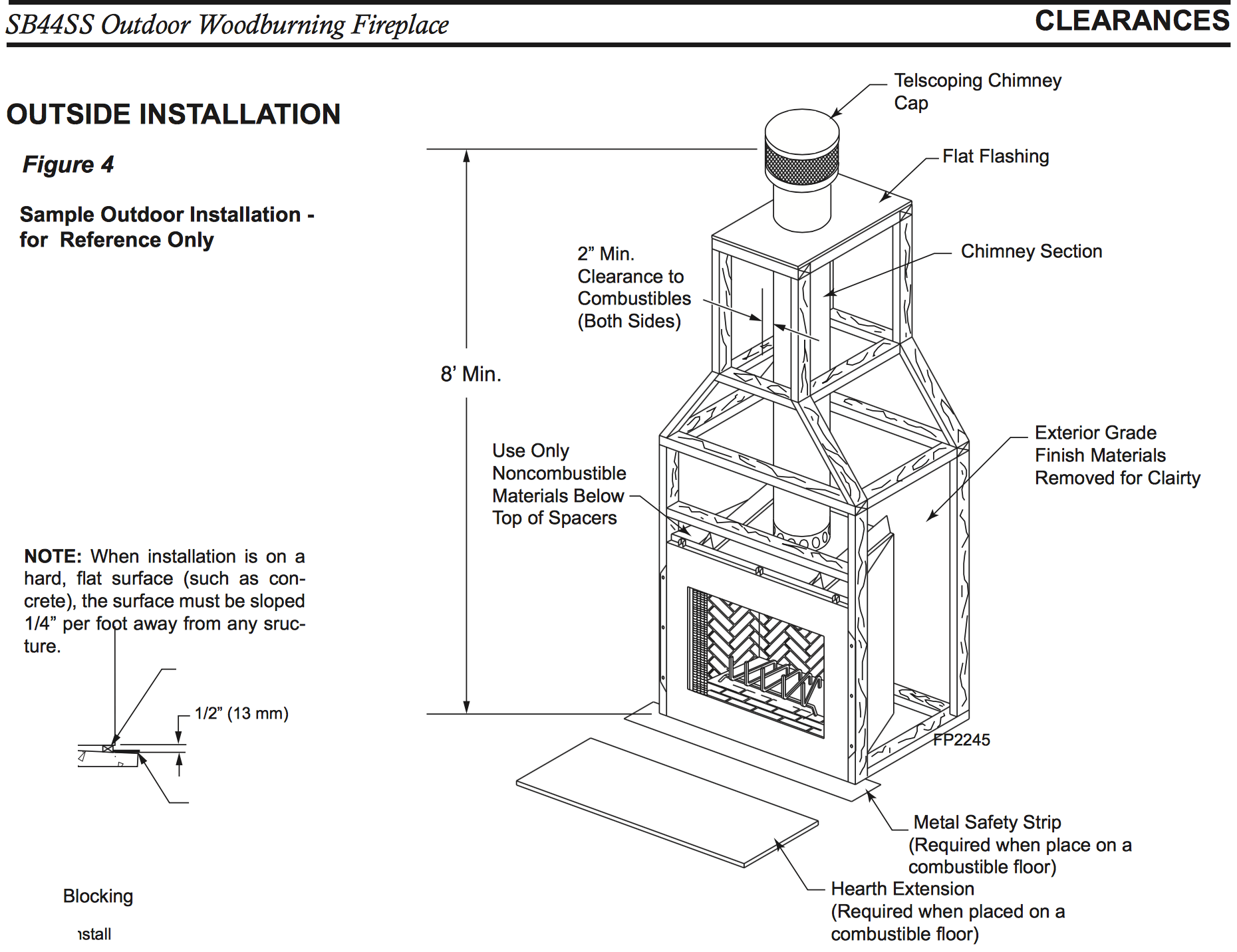 Outdoor Wood Burning Fireplace Dimensions