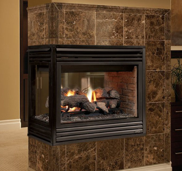 Merit Plus Peninsula Astria Gas Fireplace  Discontinued by Obadiahs Woodstoves