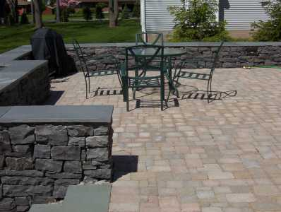 Natural Stone used for a Raised Patio Rochester NY