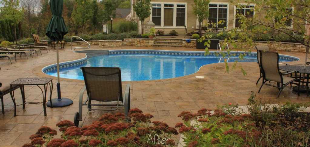high quality inground pool project in Rochester NY. Shows pool, patio, landscaping.