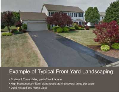 Example of Poor landscape Design leading to overgrown Front Yard landscaping