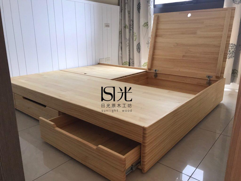實木床箱組 - 日光原木工坊