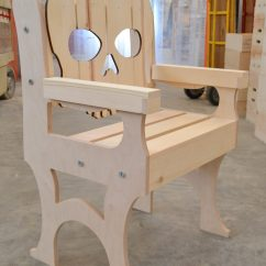 Wooden Skull Chair Arm Set Sante Blog Angled View