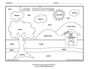 Los Colores En Espanol Worksheet Sketch Coloring Page