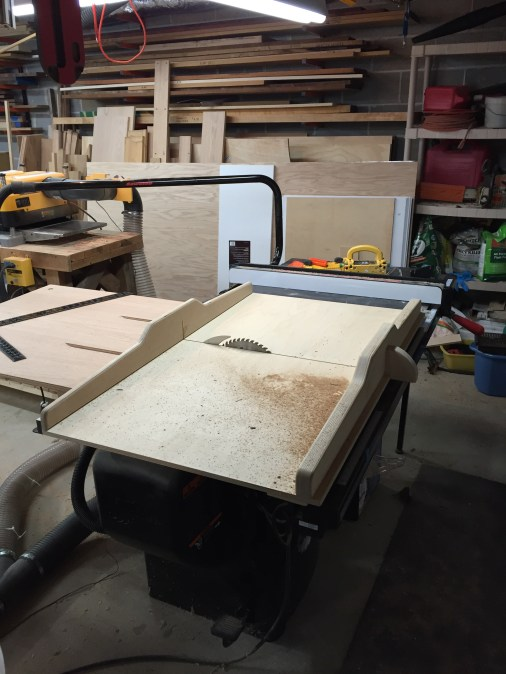 "This is my SawStop. One of the very few tools I have purchased that did not need a bunch of tweaking. It's a 3hp 220v cabinet saw. Upgrades include mobile cart, overhead dust collection, Forrest Woodworker II blade, Freud SD508 8"" Super Dado set, homemade crosscut sled (shown) and outfeed table, Incra 1000HD miter guage,  and recently purchased Jessem Clear-Cut TS stock guides. It is dead accurate, with about .002-3 toe out on the fence. This is a beast!"