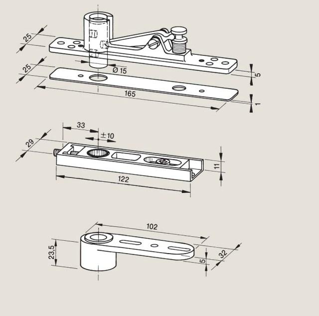 Adjustable top centres | Woodwood Door Controls