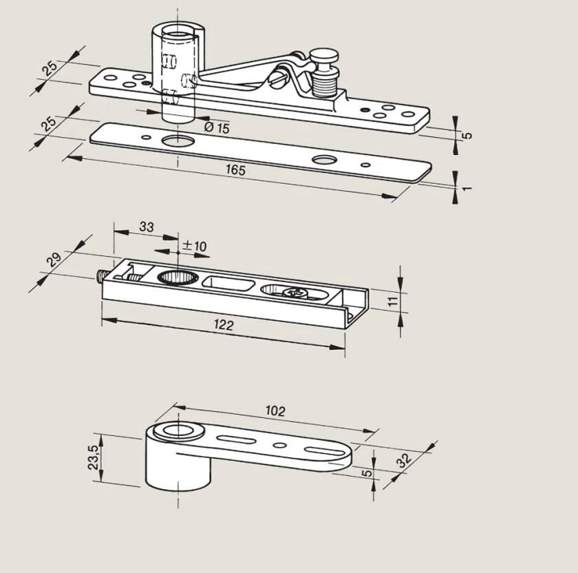 Adjustable top centres   Woodwood Door Controls