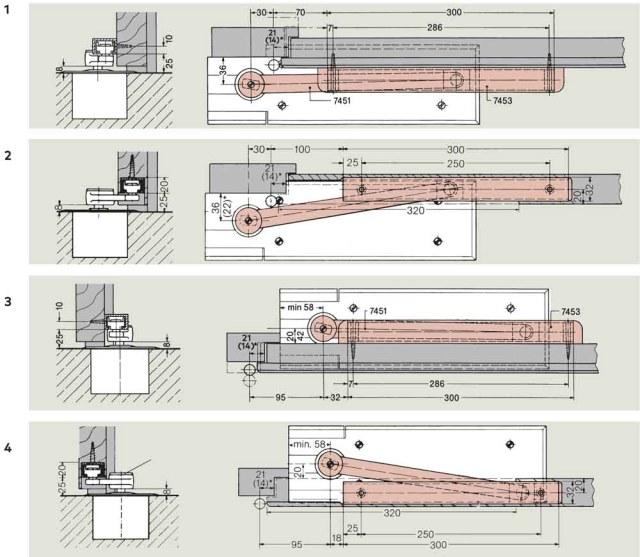 Floor Spring Arm Mounting Options | Woodwood Door Controls