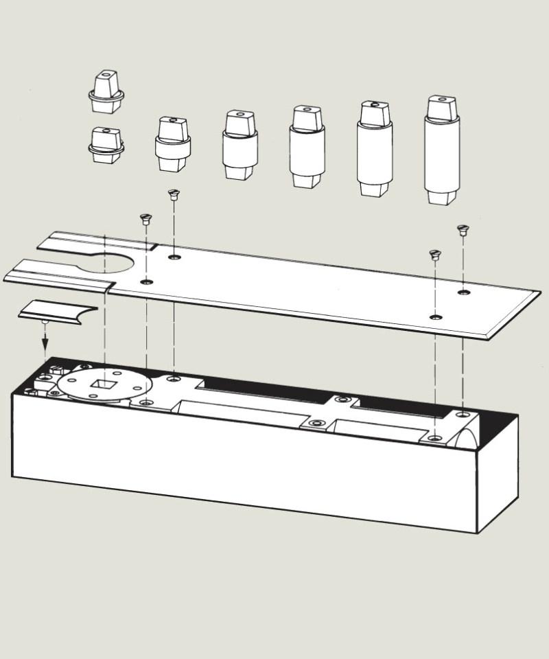 Floor Spring Pivot Extension options | Woodwood Door Controls