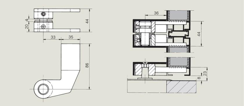 Weld on 86mm top centre   Woodwood Door Controls