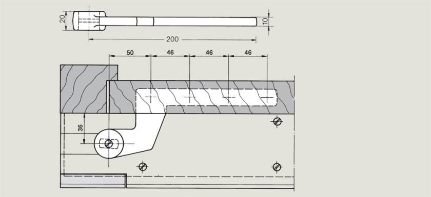 off set timber door bottom strap for a rebated door   Woodwood Door Controls