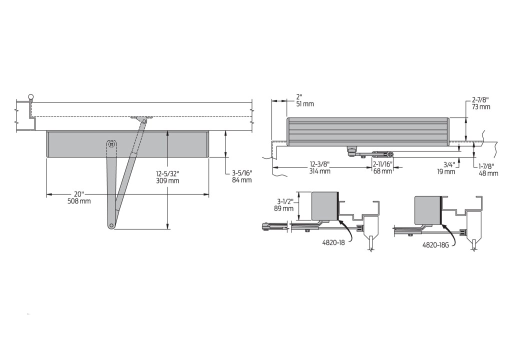 LCN 4822 Auto Equalizer Dimensions | Woodwood Door Controls