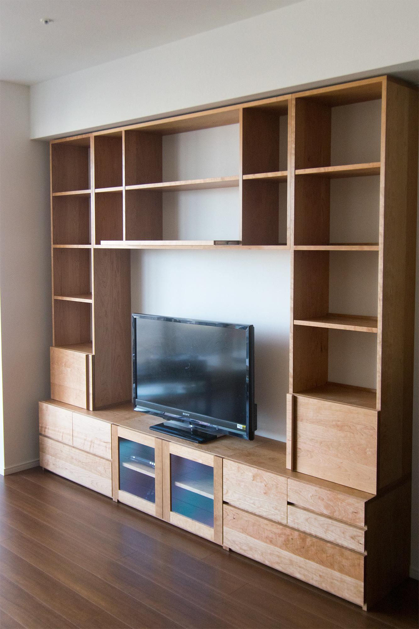 アメリカンチェリー材テレビボード 壁面収納