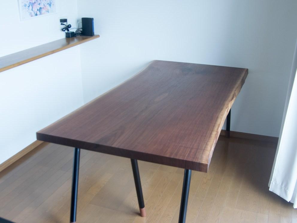 ご納品の様子 ウォールナット一枚板天板テーブル