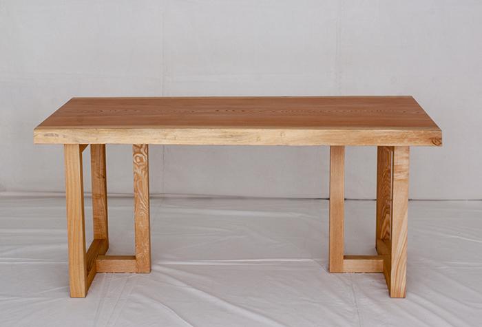 ケヤキ無垢一枚板天板ダイニングテーブル