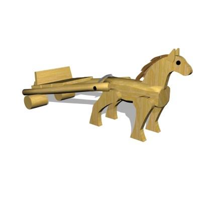 Häst&vagn i trä, temalek, lekplats, woodwork ab