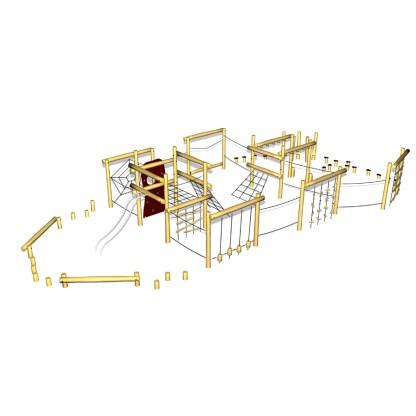 Woodwork AB-kombinerat balans- och klättersystem i robinia