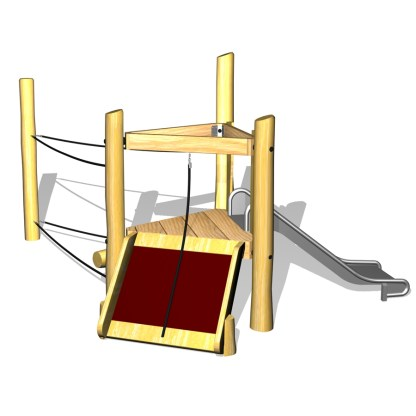 Klättersystem MINI i robinia med uppgångsramp, rutschkana