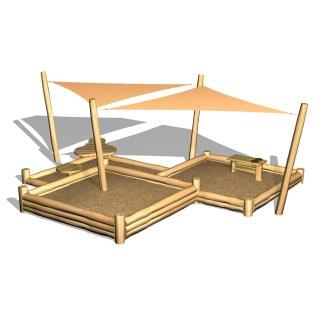 Woodwork AB-Sandlåda i nivåer/med solsegel