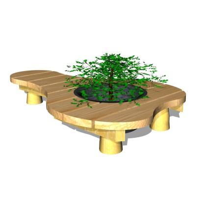 Woodwork AB-utemöblel med bänk & blomlåda