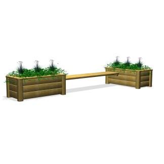 Woodwork AB-bänk med odlingslådor