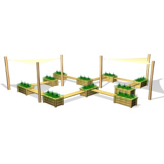 Woodwork AB-sittgrupp med solsegel & odlingslådor