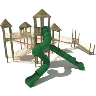 Stort leksystem med torn, rutschkanor & klätterlek