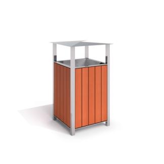 Fyrkantig papperskorg, rostfritt stål och trä - Woodwork AB